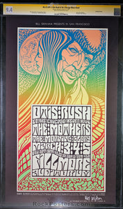 AUCTION - BG-53 - Otis Rush Frank Zappa 1967 Poster - Wes Wilson Signed - Fillmore Auditorium - GCG Graded 9.4