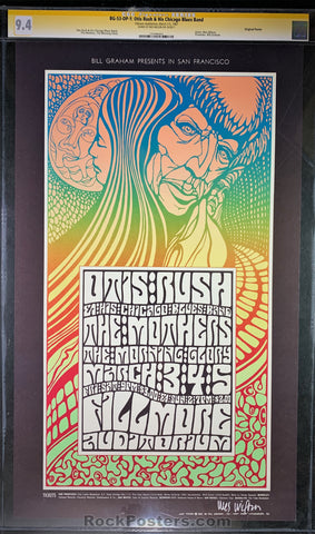 AUCTION - BG-53 - Otis Rush Frank Zappa 1967 Poster - Wes Wilson Signed - Fillmore Auditorium - CGC Graded 9.4