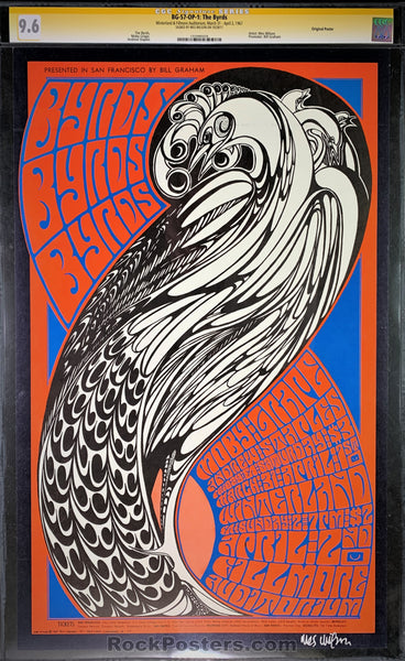 BG-57 - The Byrds Moby Grape Signed Poster - Fillmore Auditorium - Condition - CGC Graded 9.6