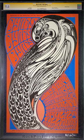 AUCTION - BG-57 - The Byrds Moby Grape Poster - Wes Wilson Signed - Fillmore Auditorium - CGC Graded 9.6