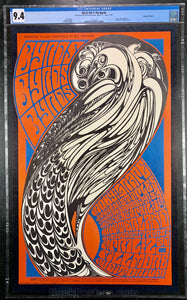 BG57 - The Byrds Moby Grape Poster - Fillmore Auditorium - Condition - CGC Graded 9.4