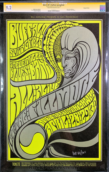 BG61 - Buffalo Springfield Signed Poster - Fillmore Auditorium - Condition - CGC Graded 9.2