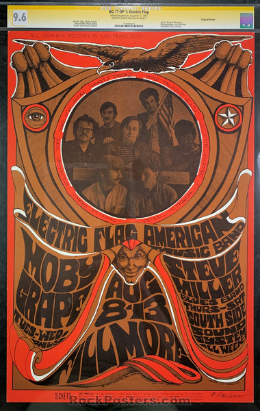 BG-77 - Electric Flag Signed Poster - Fillmore Auditorium - Condition - CGC Graded 9.6