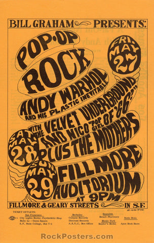 AUCTION - BG 8  - Andy Warhol Velvet Underground 1966 Original Handbill  - Fillmore Auditorium - Condition - Near Mint