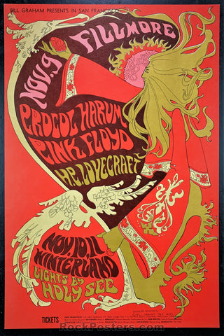 AUCTION - BG 92  - Pink Floyd 1967 Fillmore Concert Poster  - Condition - Excellent