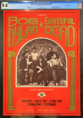 AUCTION - BGP-16 - Grateful Dead Bob Dylan Poster - Oakland Stadium - CGC Graded 9.8