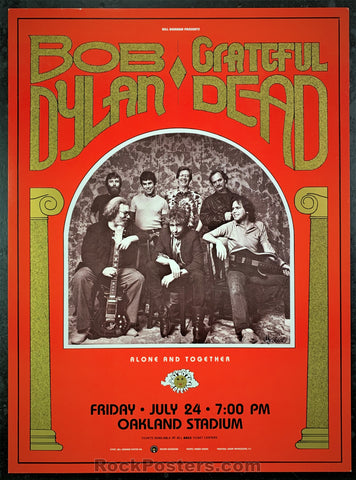 AUCTION - BGP16 - Grateful Dead Bob Dylan 1987 Photographer Signed Poster - Oakland Stadium - Condition - Near Mint