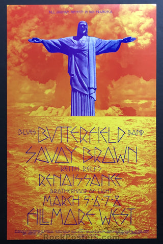 AUCTION - BG221 - Savoy Brown Butterfield Blues Band 1970 David Singer Original Poster  - Fillmore West  - Condition - Mint & Signed