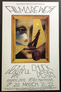 AUCTION -  BG224 - Chuck Berry It's a Beautiful Day 1970 David Singer Original  Poster - Fillmore West - Condition -  Mint & Signed