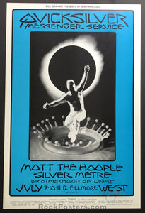AUCTION -  BG242 - Mott the Hoople Quicksilver 1970 David Singer Original Poster - Fillmore West - Condition - Mint & Signed