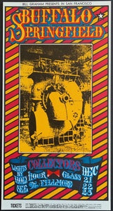 AUCTION - BG 98  - Buffalo Springfield Allman Bros Original Stanley Mouse  Poster - Fillmore - Condition - Mint & Signed