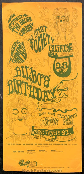 AUCTION - AOR2.156 - Bilbo's Birthday Big Brother Great Society 1966 Handbill - California Hall - Condition - Very Good