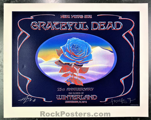 AUCTION - Alton Kelley Collection - Grateful Dead Blue Rose 25th Anniversary 2003 Poster - Mouse & Kelley Signed - Condition - Near Mint Minus