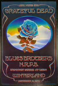 AUCTION - AOR 4.38 - Blue Rose Grateful Dead Blues Brothers Mouse Signed  & Kelley Poster - Winterland - Condition - Near Mint Minus