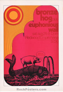 AUCTION - Psychedelic - Bronze Hog 1970 - Golden Star Handbill - Santa Rosa - Near Mint