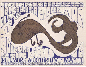 AUCTION - AOR-2.83 - Country Joe & the Fish SIGNED - Vanguard Record Release - 1967 Handbill - Fillmore Auditorium - Excellent