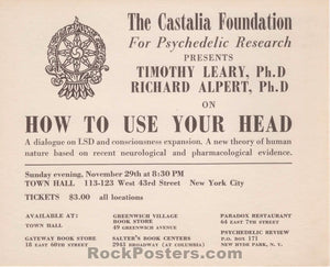 AUCTION - Drugs - Timothy Leary 1964 LSD NYC Lecture Mailer - Condition - Near Mint