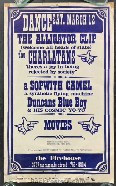 AUCTION - AOR 2.210 - Charlatans 1966 Poster - The Firehouse - Condition - Good
