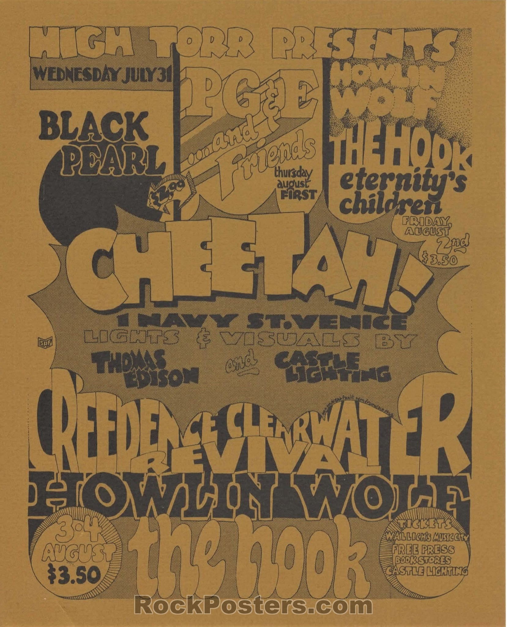 AUCTION - Creedence Clearwater - Howlin' Wolf 1968 Handbill - Cheetah Club - Condition - Near Mint