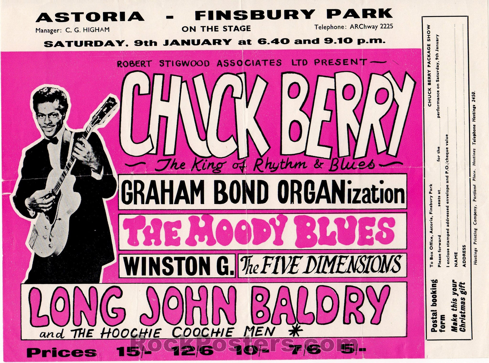 AUCTION - Chuck Berry - Moody Blues 1965 Original Handbill London - England - Condition - Excellent