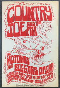 AUCTION - Country Joe & Fish -  Concord, CA.  1968 Concert Poster Condition - Excellent