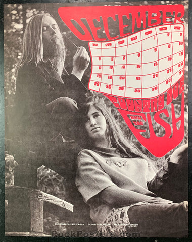 AUCTION - Country Joe and the Fish - December 1966 Calendar Poster - Near Mint Minus