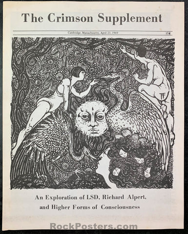AUCTION - LSD - The Crimson Supplement 1969 Richard Alpert Booklet - Harvard - Condition - Near Mint Minus