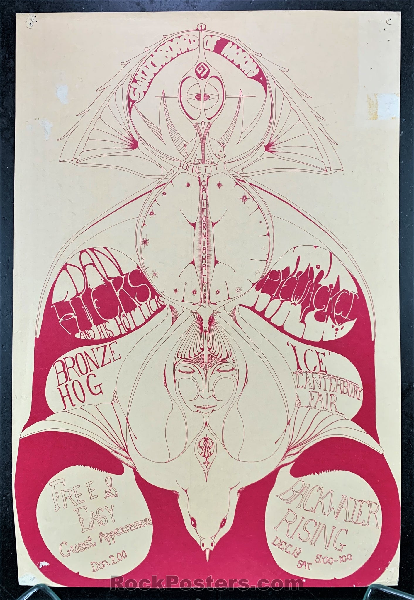 AUCTION - Dan Hicks -  Psychedelic Benefit 1969 Concert Poster - California Hall - Condition - Good