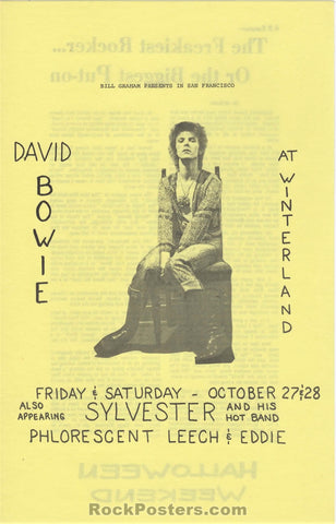 AUCTION - David Bowie - Ziggy Stardust Sylvester 1972 2-Sided Handbill - Winterland - Condition - Near Mint