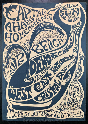 AUCTION - Capt. Ahabs Homecoming - 1967 Psychedelic Concert Poster - Muir Beach - Condition - Very Good