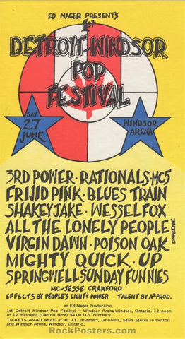 AUCTION - MC5 Detroit - Windsor Pop Festival 1970 Handbill - Ontario - Condition - Near Mint