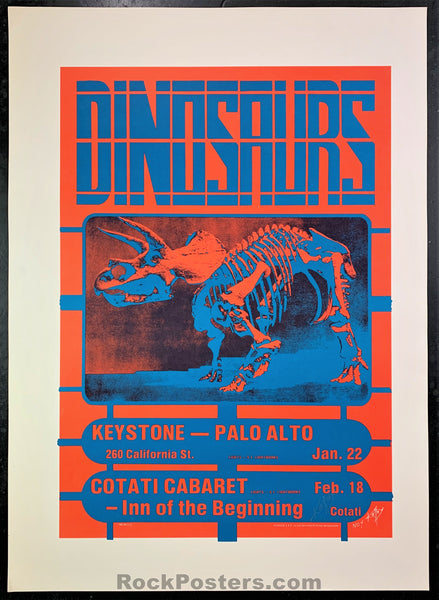 AUCTION - Alton Kelley Collection - Dinosaurs 1983 Poster - Kelley Signed -  The Keystone - Condition - Excellent