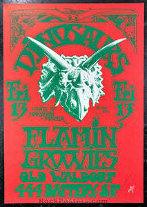 AUCTION - Alton Kelley Collection - Dinosaurs Flamin' Groovies - Kelley Signed 1982 Poster - Old Waldorf - Condition - Excellent