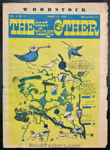AUCTION - Woodstock - East Village Other 1969 - New York Underground Newspaper - Excellent