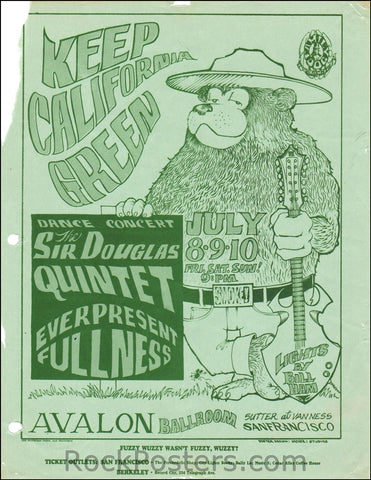 FD16 - Sir Douglas Quintet Handbill - Avalon Ballroom (08-Jul-66) Condition - Very Good