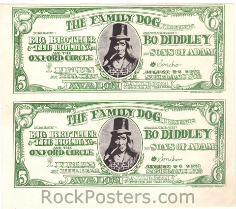 FD19 - Big Brother & The Holding Company Handbill - Uncut Sheet of 2 - Avalon Ballroom (05-Aug-66) Condition - Near Mint