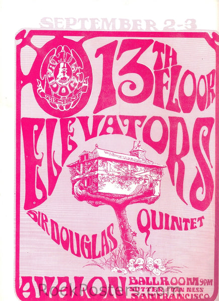 FD24 - 13th Floor Elevators Handbill - Version A - Avalon Ballroom (2&3-Sep-66) Condition - Near Mint