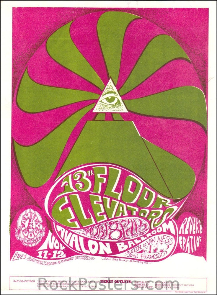 FD34 - 13th Floor Elevators Handbill - Purple - Avalon Ballroom (11-Nov-66) Condition - Excellent