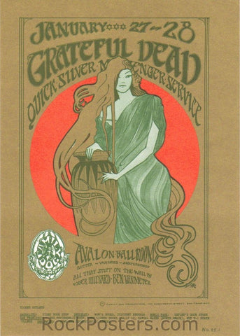 FD45 - The Grateful Dead Postcard - Avalon Ballroom (27-Jan-67) Condition - Mint
