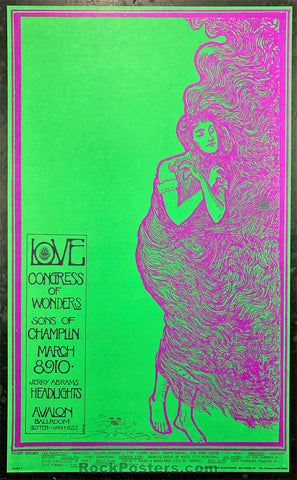 AUCTION - FD-109 - Love 1968 Poster - Mouse Signed - Avalon Ballroom - Near Mint Minus