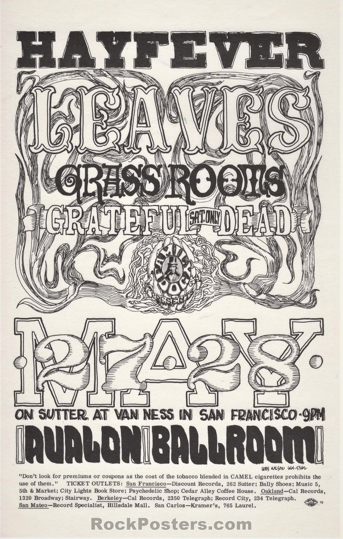 AUCTION - FD10 - Hayfever Grateful Dead Family Dog 1966 Handbill - Avalon Ballroom - Condition - Near Mint