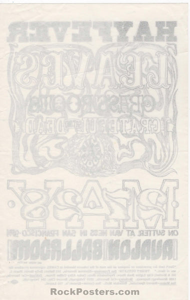 AUCTION - FD10 - Hayfever Grateful Dead 1966 Handbill - Avalon Ballroom - Condition - Excellent