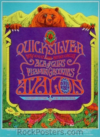 FD118 - Quicksilver Messenger Service Poster - Avalon Ballroom (10-May-68) Condition - Near Mint
