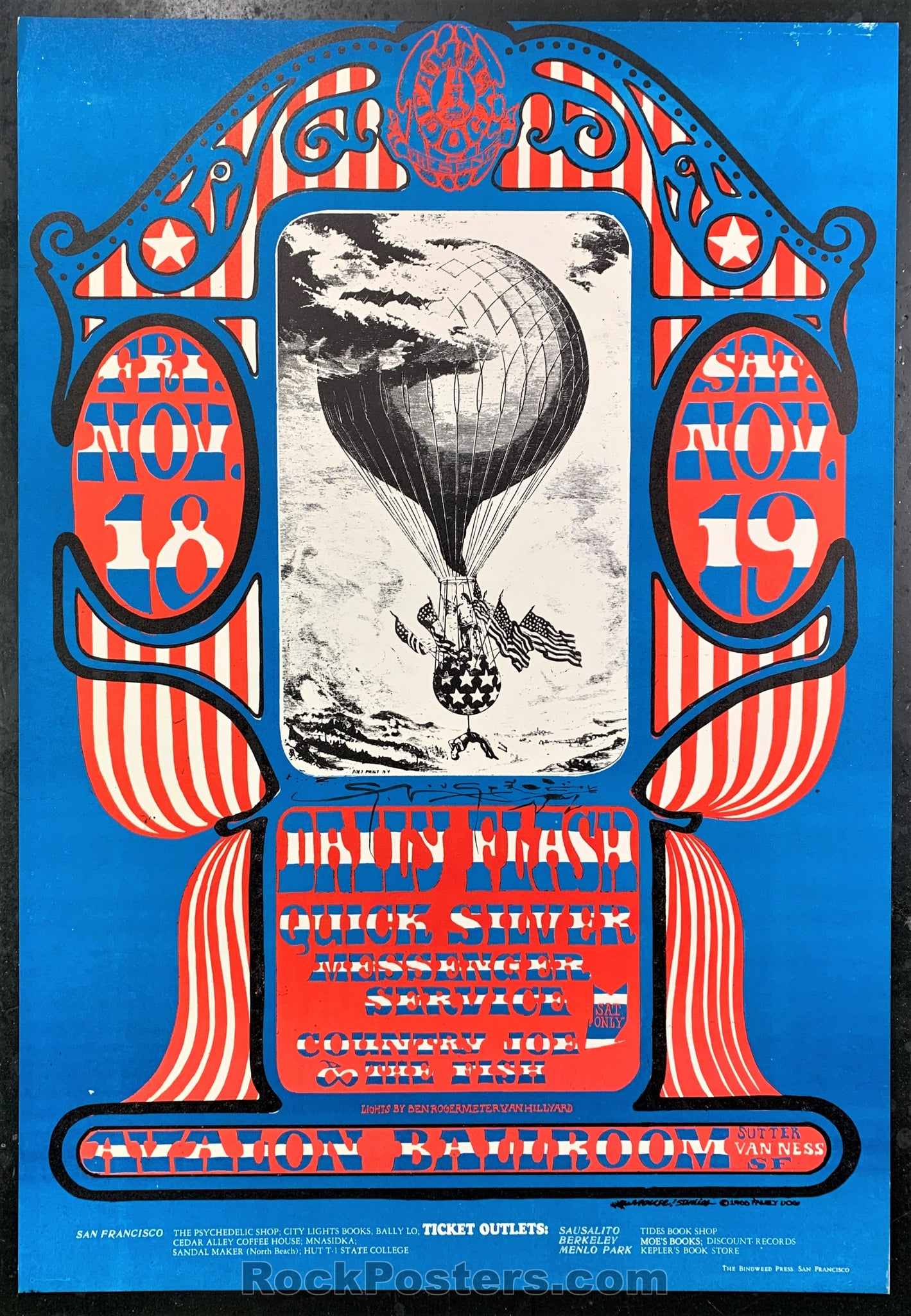 AUCTION - FD-35 - Daily Flash 1966 Poster - Mouse Signed - Avalon Ballroom - Near Mint Minus