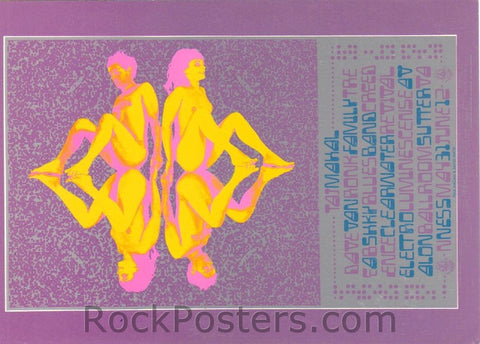 FD121 - Taj Mahal Postcard - lavender - Avalon Ballroom (31-May-68) Condition - Near Mint