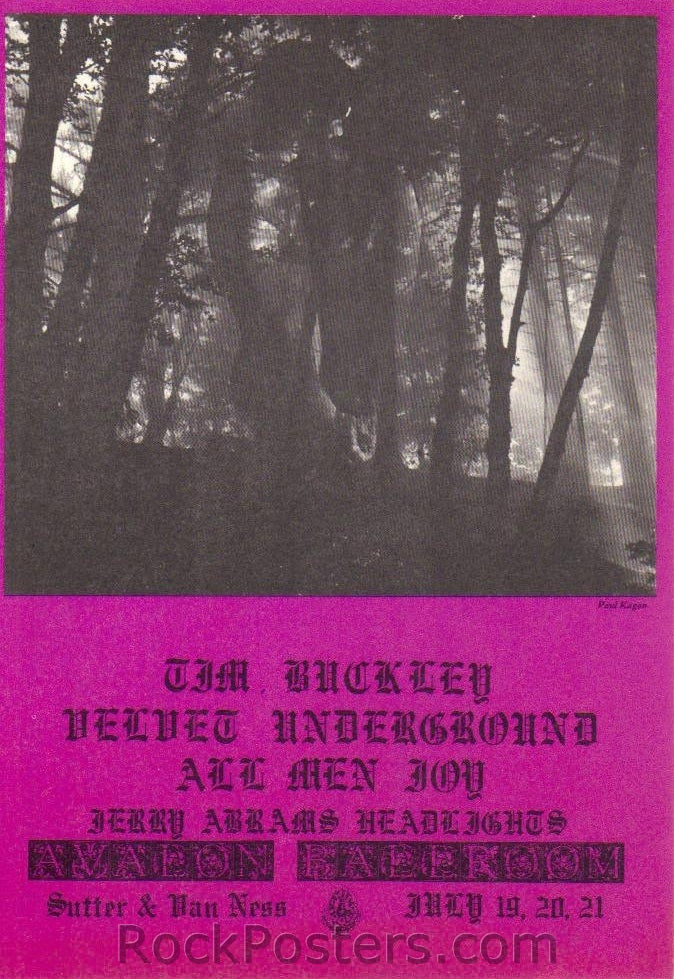 FD128 - Tim Buckley Postcard - Avalon Ballroom (19-Jul-68) Condition - Near Mint