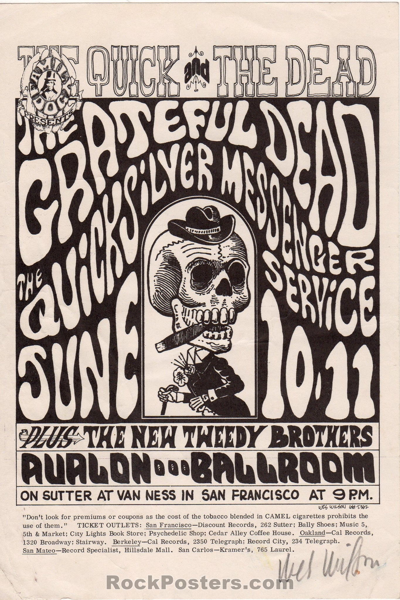 AUCTION - FD 12  - Grateful Dead 1966  Wes Wilson SIGNED Original Handbill   - Avalon Ballroom  - Condition - Excellent