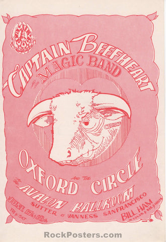 AUCTION - FD-13 - Captain Beefheart 1966 Handbill - Avalon Ballroom - Near Mint