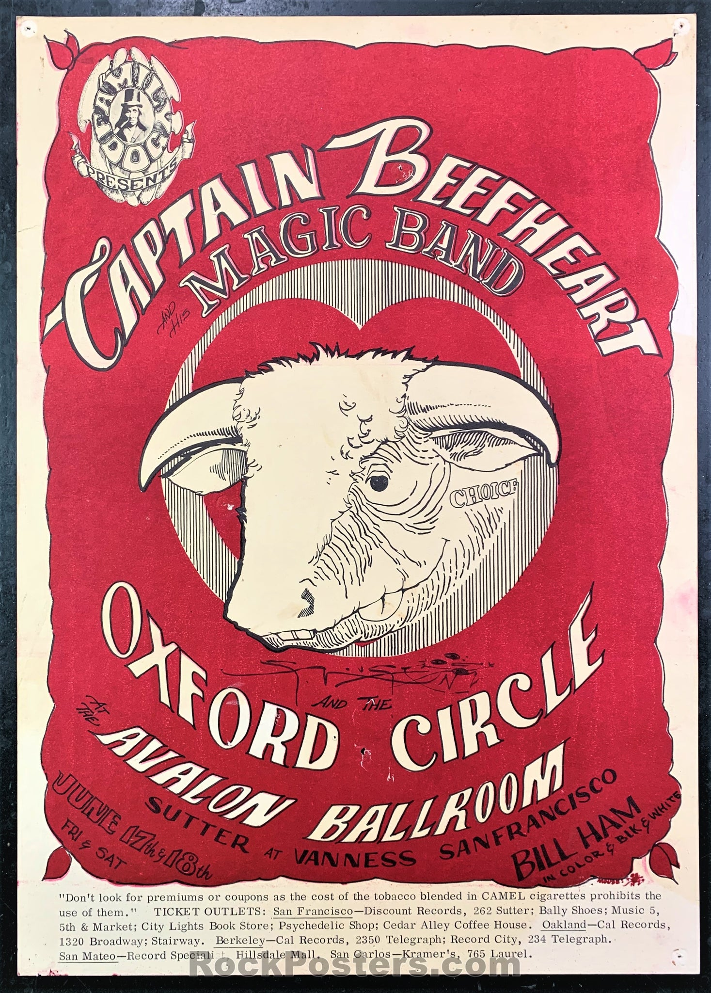 AUCTION - FD-13 - Captain Beefheart Poster - Mouse Signed - Avalon Ballroom - Excellent