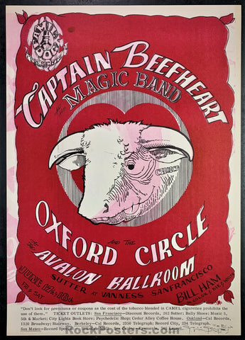 FD13 - Captain Beefheart Poster - Mouse Signed - Avalon Ballroom -Condition - Near Mint Minus